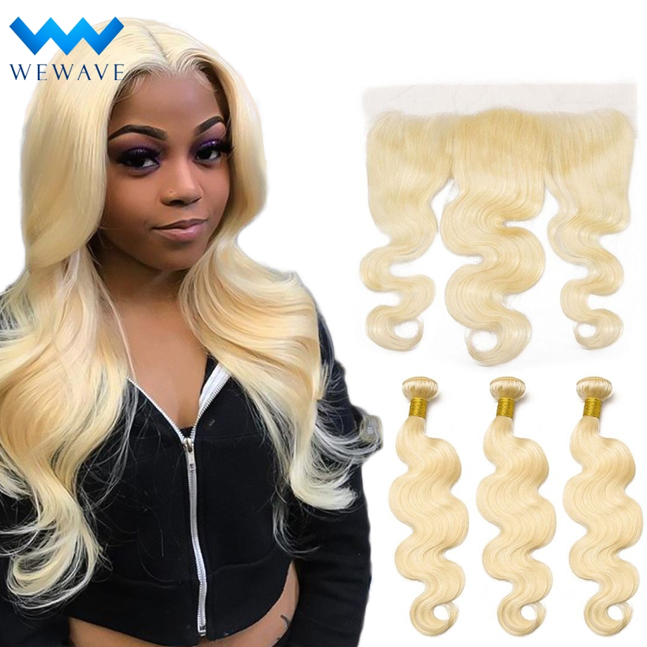 Blonde 613 Human Hair Bundles With Frontal Closure Brazilian Body Wave virgin Hair Weave Extension Short Long for Black Women image