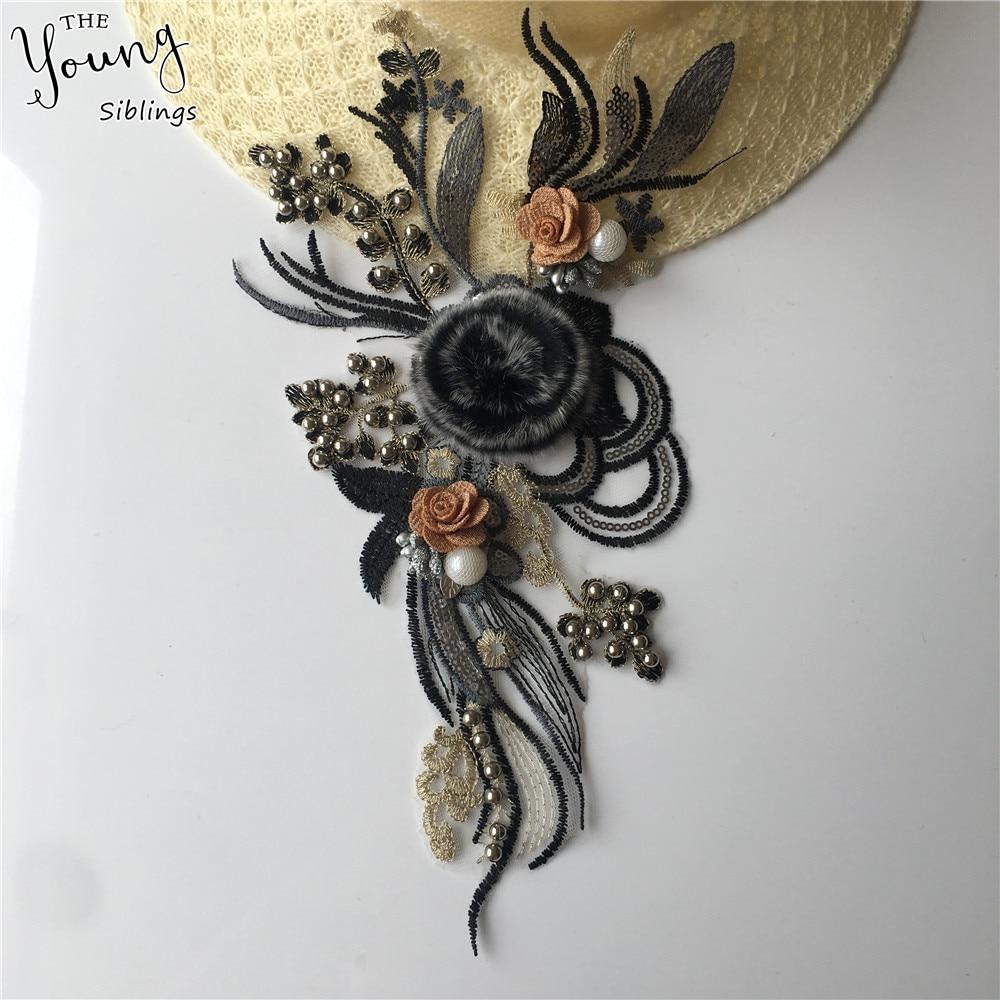 Bordado apliques 3D flor lentejuelas moda encaje tela escote costura ABS perla encaje Collar DIY vestidos con adornos Accesorios