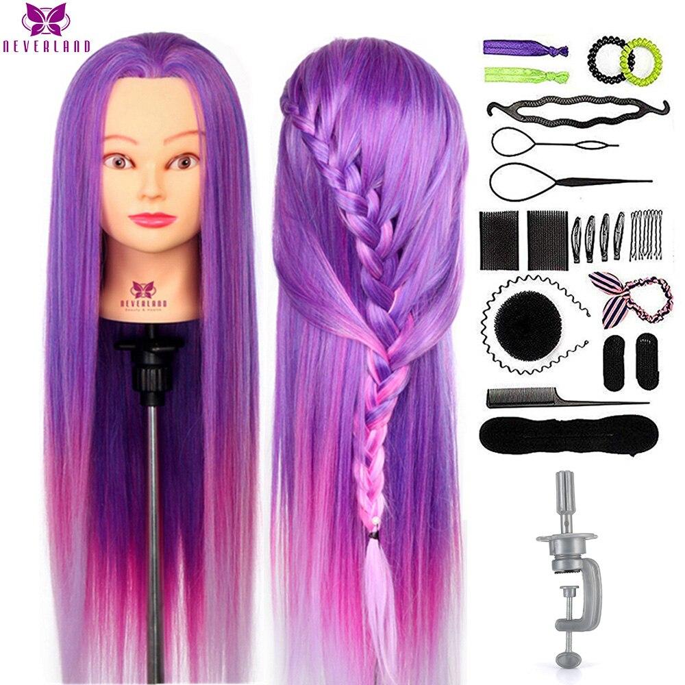 NEVERLAND 30 дюймовый цветной манекен головы и яркой фиолетовой юбкой длинные волосы Учебные головы-манекены профессиональная машинка для стриж...