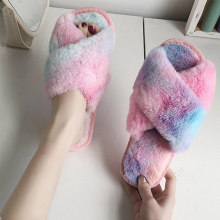 2020 Fashion Multi-color Women Fluffy Slipper Winter Cross-tie Plush Slippers Flat Shoes Winter Warm Faux Fur Slipper Home(China)