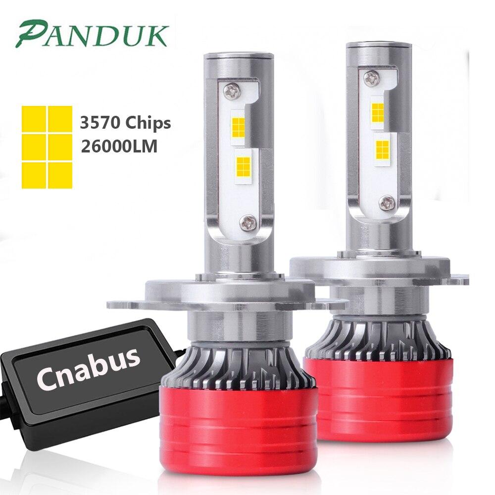 PANDUK H4 светодиодный головной светильник для авто 26000LM CANBUS Светодиодная Лампочка светодиодный лампы для автомобиля светильник лампочка H1 H7 с...