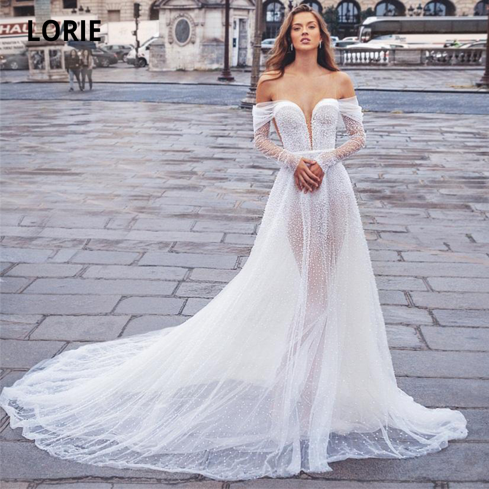 LORIE Off The Shoulder Long Sleeve Wedding Dressess Boho 2020 Sexy V-neck Beaded Sequins Open Back Bridal Gowns With Long Train