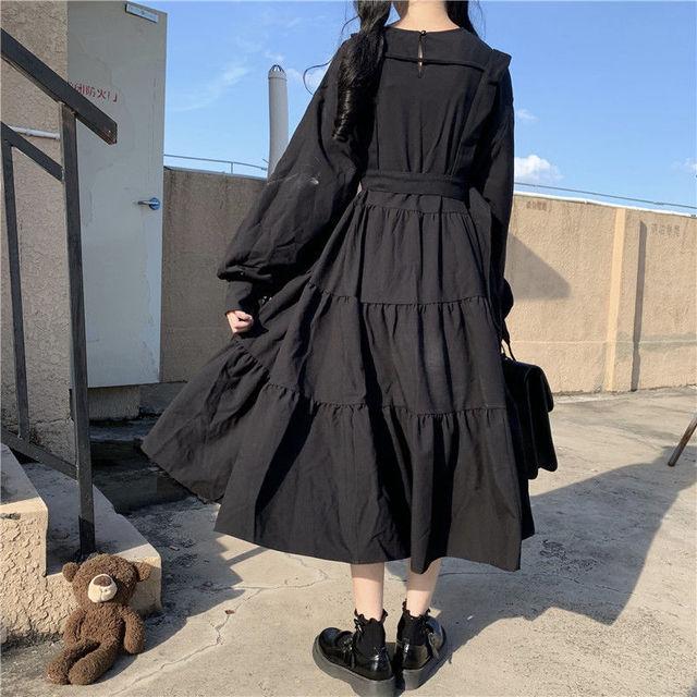 QWEEK Vintage Lolita Gothic Dress 2021 Japanese Harajuku Sweet Lolita Streetwear Women Dress Gothic Punk Long Sleeve Dress Women 5