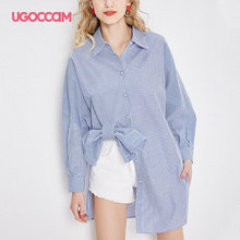 UGOCCAM Long Shirt Summer Striped Blouse Shirt With Bow Full Sleeve Plus Size  Loose Casual High Low Blouse Turn-down Collar casual plus size striped high low hem shift dress