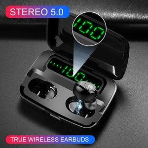 Image 1 - 120 שעות המתנה אוזניות אלחוטי אמיתי סטריאו TWS F9 אוזניות Hifi Bluetooth 5.0 אוזניות מגע בקרת אוזניות