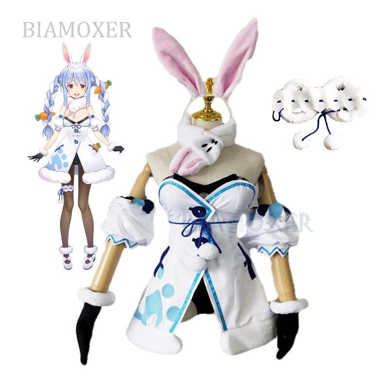 Парики для косплея VTuber Usada Beijing Ora, косички Hololive Fantasy Bunny Girl, костюмы для косплея, одежда для Хэллоуина, все комплекты