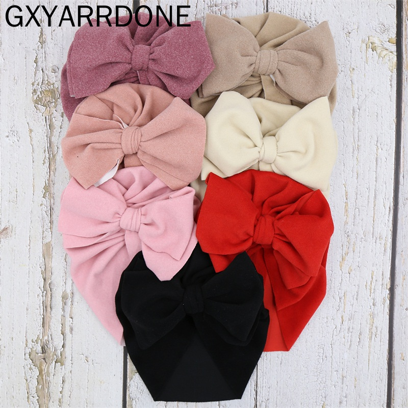 Baby Velvet Beanie Hat For Girls Children's Hats Top Knot Bow Newborn Hat Baby Turban Topknot Newborn Photography Props Cap