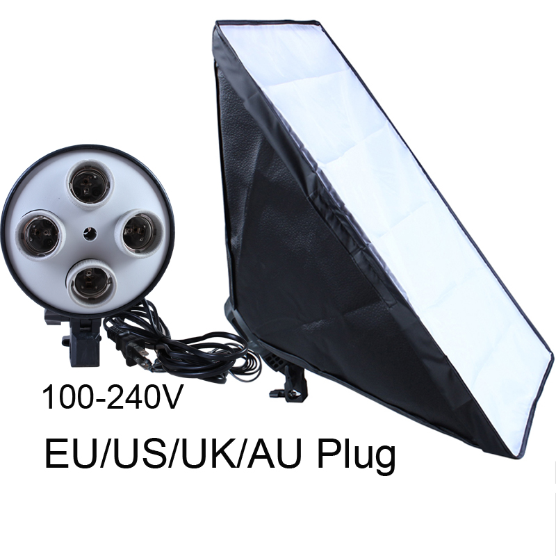 Photo Studio Diffuser Four Lamp Holder Softbox 50*70cm 100-240V E27 Kit With E27 Base Holder Soft Box for Video No Tripod