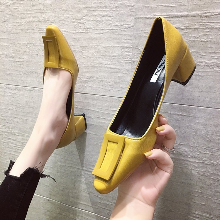EOEODOIT Leather Pumps Shoes Women High Square Heel Slip On Square Toe Fashion Shoes Female Lady Party Office Casual Daily Heels