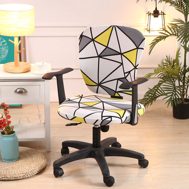 Computer Chair Cover Spandex Printed Office Chair Cover 2 Pieces Set