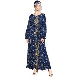 Fashion Abaya Kaftan Muslim Women Embroidery Polka Dot Long Maxi Dress Islamic Jilbab Kaftan Caftan Ramadan Gown Robe Plus Size