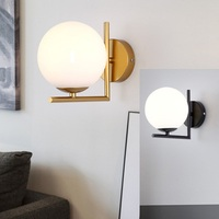 LukLoy Modern Minimalist LED Wall Lamp Nordic Bedroom Bedside Wrought Iron Plated Glass Ball LED Wall Lamp Gold Metal LED Light