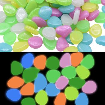 25 sztuk świecące w ciemności kamienie fluorescencyjne kamienie świecące kamienie skały na ogrodnictwo w domu basen Bar wystrój akwarium tanie i dobre opinie LL165 15 Żywica Can be used repeatedly Walkway flower beds aquarium garden