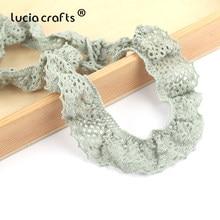 Lucia artesanía 2y/Lot 30mm algodón ganchillo puntilla para prendas de vestir encaje de adorno elástico cintas para Material de costura R0217