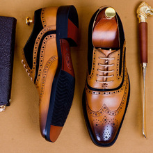 New 2020 Men Dress Shoes Formal Wedding Genuine Cow Leather Shoes Retro Brogue Business Office Men's Flats Oxfords For Men EU 46 handmade men dress shoes formal wedding genuine leather shoes retro brogue business office men s flats oxfords for men