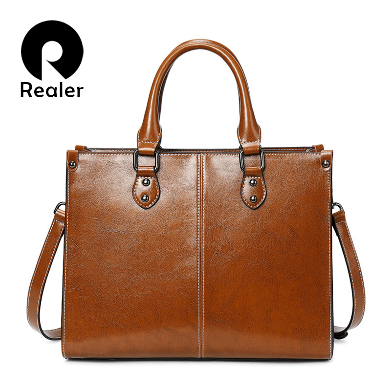 REALER Leather Luxury Handbags Women Bags Designer 2019 Fashion Shoulder Bag Quality Leather Crossbody Bags For Women Messenger
