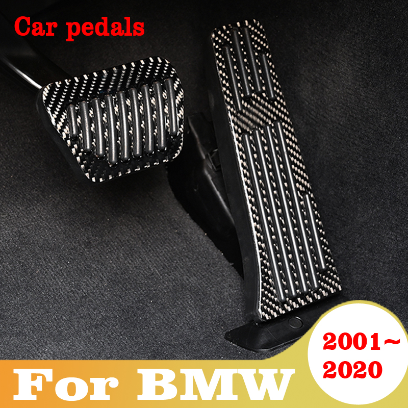 For BMW 1 2 3 4 5 6 7 series AT Universal Gas Fuel Brake Footrest Pedal Plate Pad Carbon Fiber Car Accessories