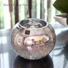 Light luxury plating silver glass vase flower color glass vase ball glass vase wedding dried flower storage decoration gift