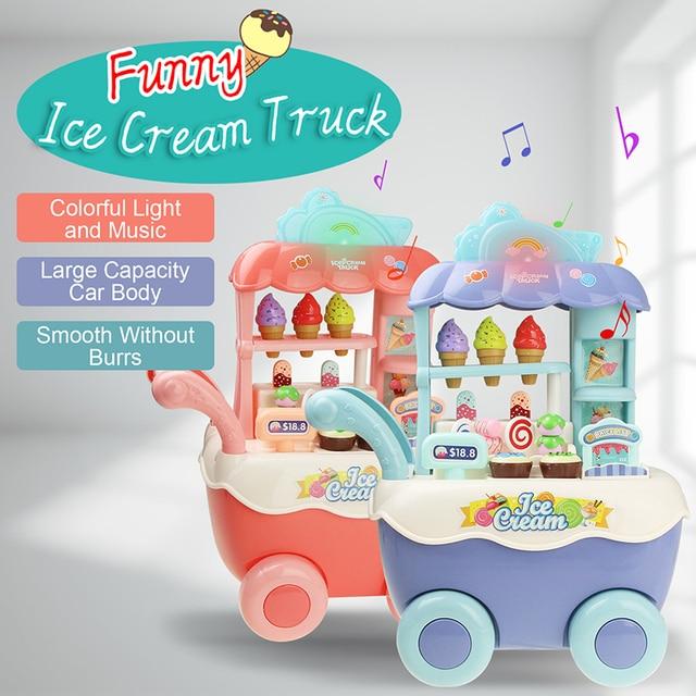 مضحك سوبر ماركت للتسوق التظاهر اللعب المطبخ لعبة للبنات الأطفال ألعاب تعليمية عربة الآيس كريم مع الضوء والموسيقى