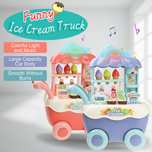Funny Supermarket Shopping Pretend Play Kitchen Toy for Girls Children Educational Toys Ice Cream Cart with Light and Music