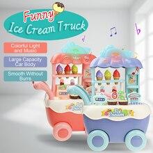 Lustige Supermarkt Einkaufen Pretend Play Küche Spielzeug für Mädchen Kinder Pädagogisches Spielzeug Eis Warenkorb mit Licht und Musik