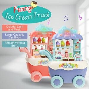 Image 1 - Śmieszne zakupy w supermarkecie udawaj, że bawisz się zabawka kuchenna dla dziewczynek zabawki edukacyjne dla dzieci wózek na lody ze światłem i muzyką