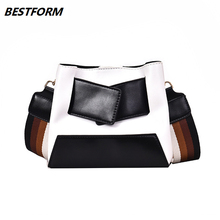 BESTFORM Womens Bag Small Crossbody Leather Vintage Shoulder Bags Patchwork Messenger Student Korean Version Handbag
