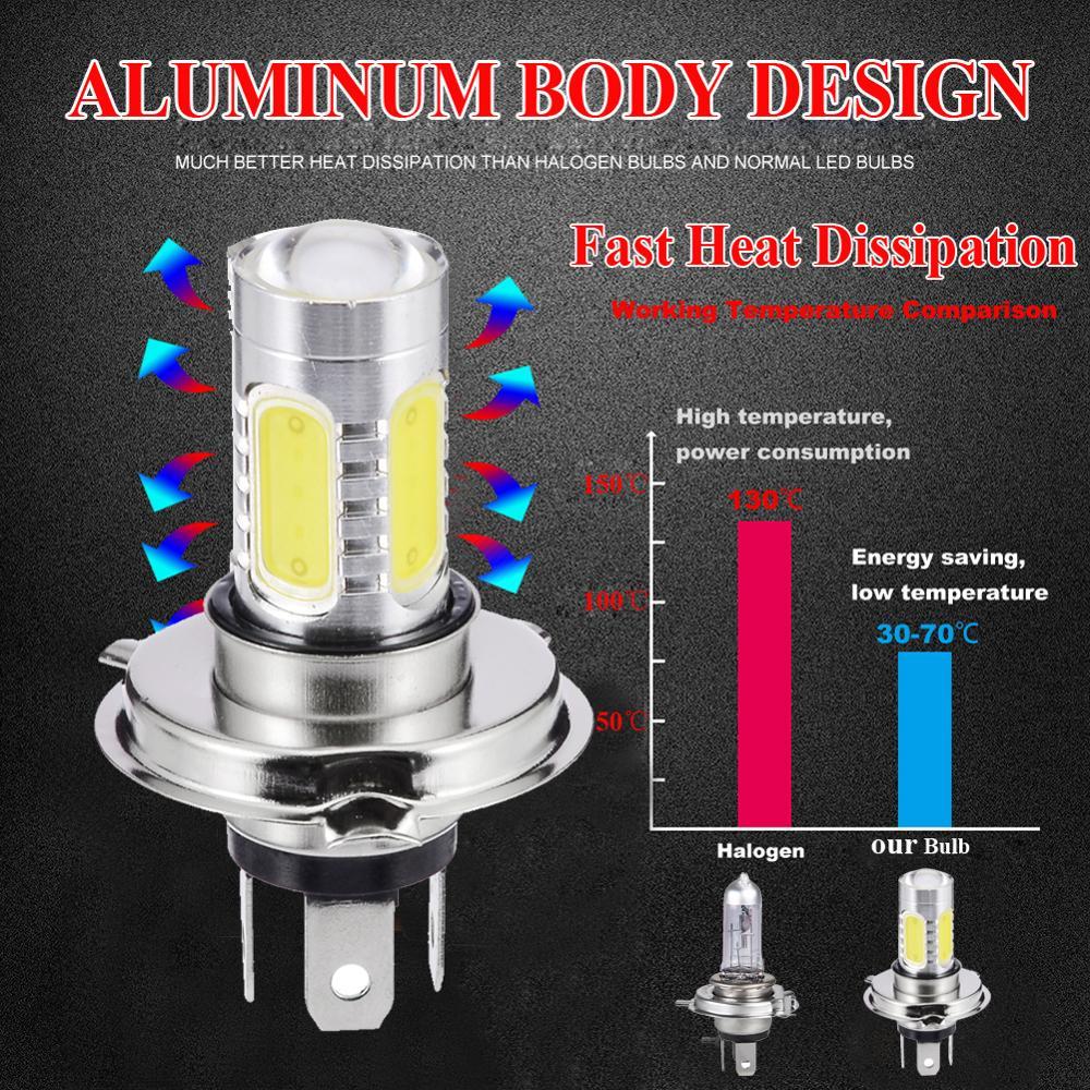1PC H4 9003 60W 1800LM 6000K Car COB LED Conversion Headlight Bulb Hi//Lo Beam
