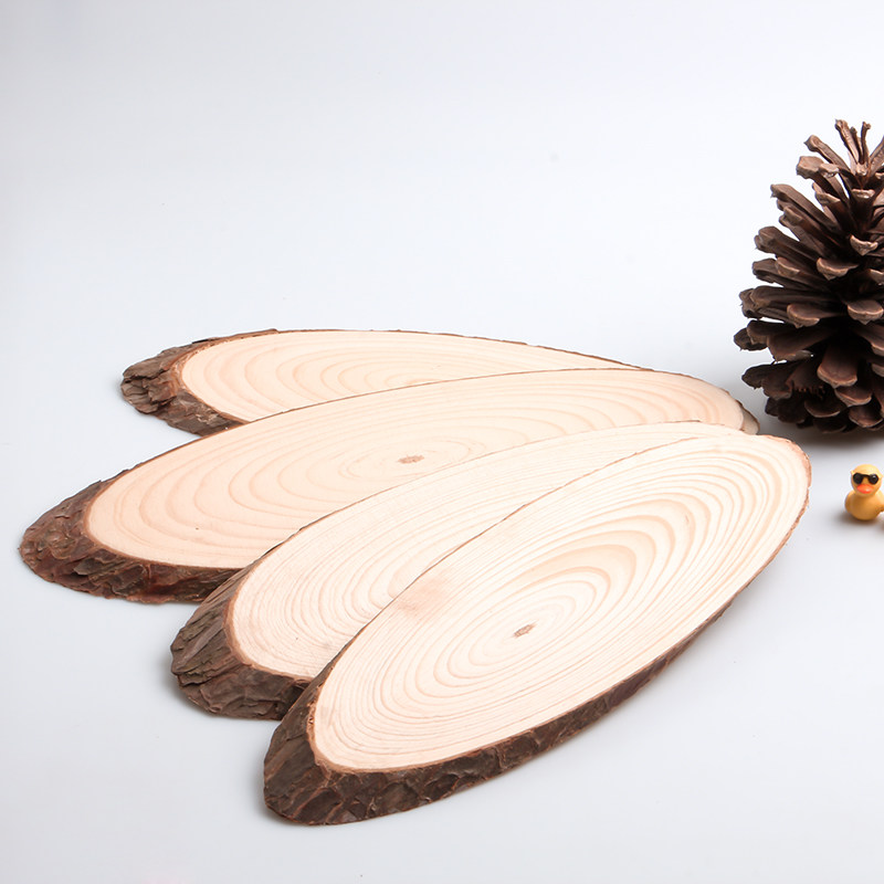 10x Blank unpainted Rustic Natural Wood Pine Tree Slices Oval DIY Decor