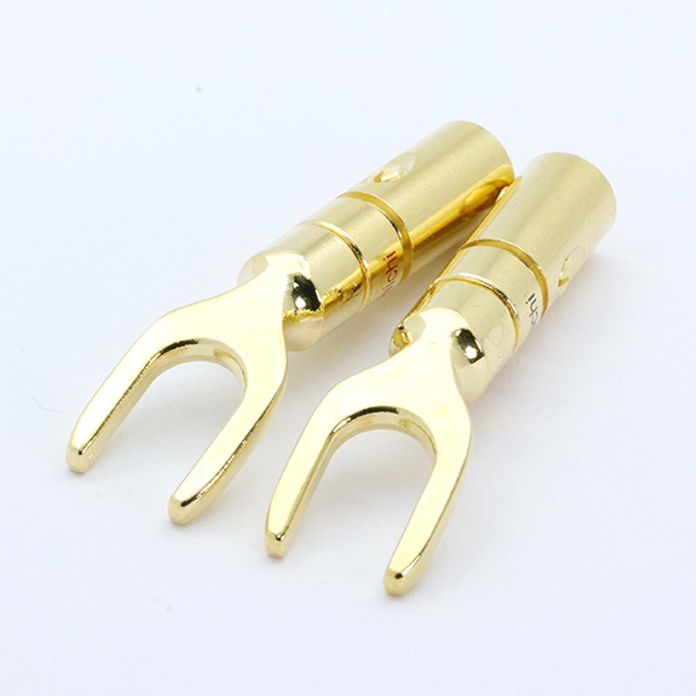 Deal´Connectors-Adapter Speaker Audio-Screw Banana-Plug Gold-Plated Fork Spade Y-U--10pcs/5pairs