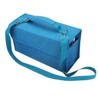 80 Slots Large Capacity Folding Marker Pen Case Art Markers Pen Storage Carrying Bag Durable Sketch Tools Organizer Blue