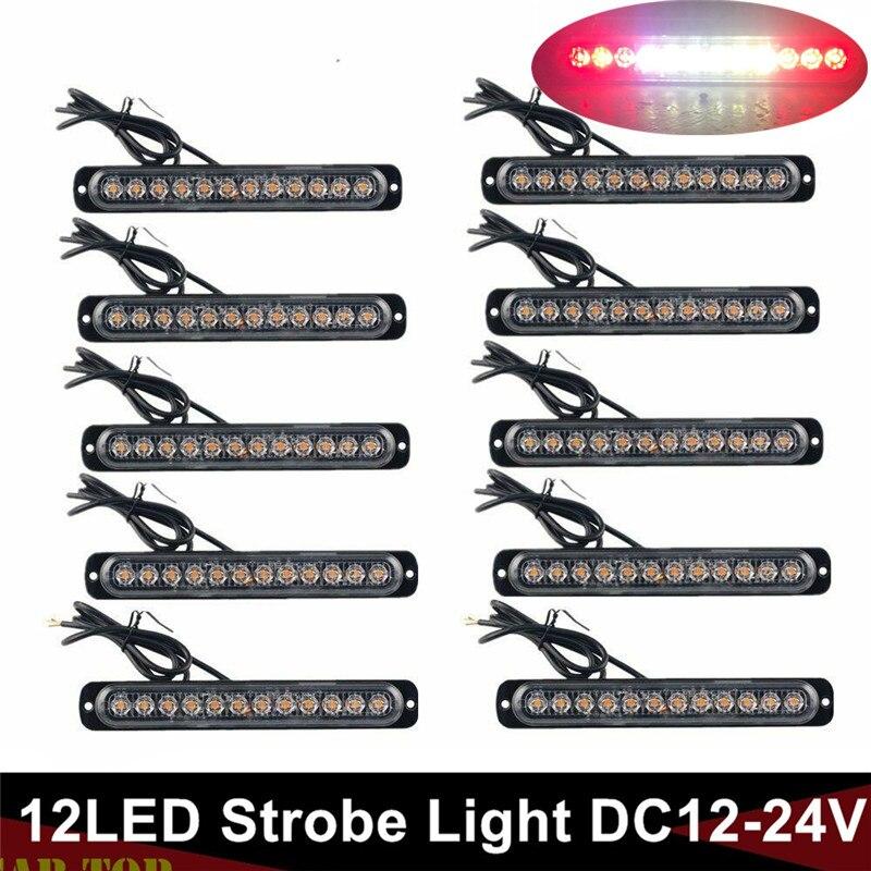10PCS Truck Lights Aluminum Base LED Flashlight Trailer Flash Light Warning Beacon Strobe Light Bar White Red Parking Lights 24V