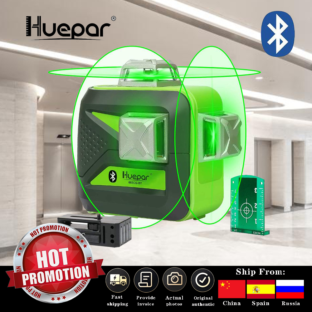 Huepar 12 lines Green Beam 3D Laser Level with Bluetooth Function Self-Leveling Cross Line Charge Use Dry  amp  Li-ion Battery