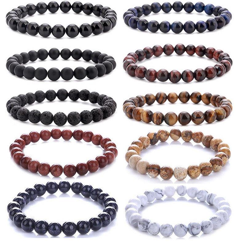Beaded Bracelet 8mm Natural Stone Lava Tiger Eye Black Onyx Matte Healing Beads Bangle Stretch Charm Yoga For Women Men Jewelry