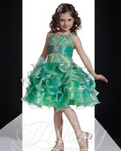Zielone potargane księżniczka dziewczyny suknie na konkurs piękności 2020 śliczne Tutu dziewczynki suknie wieczorowe Organza maluch Glitz suknie na konkurs piękności tanie tanio La MaxPa Tea-długość -Line V-neck Bez rękawów CP317 Flower Girl Dresses Reference Images