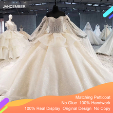 HTL1055 luksusowa suknia ślubna plus rozmiar złudzenie koralik cekinowa koronka z długim rękawem suknia ślubna z cape vestido de casamento