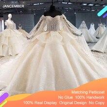 Htl1055 bola de luxo vestido de casamento plus size ilusão grânulo lantejoulas rendas manga longa vestido de casamento com capa