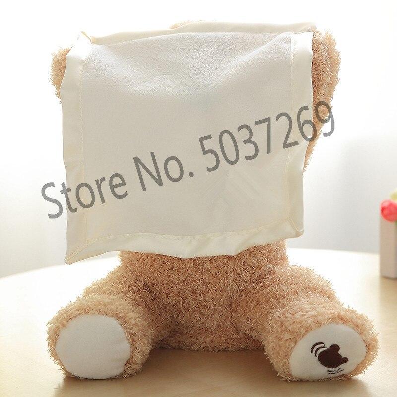 Nuevo 30cm Peek A Boo oso de peluche jugar buscar encantadora de dibujos animados de peluche de juguete de cumpleaños, regalo de Navidad lindo eléctrica oso de peluche de juguete