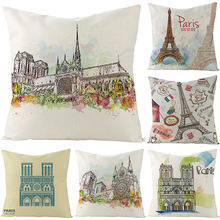 Nordic Romantic France Eiffel Tower Paris Sofa Cushion Cover For chair 3D painting Castle Decorative pillows Linen pillow case
