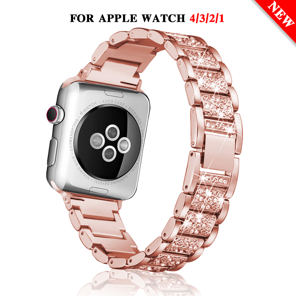 Watchband Strap For Apple Watch Band 40mm 44mm 38mm 42mm Women Diamond Bracelet For IWatch Series 5 4 3 2 Stainless Steel