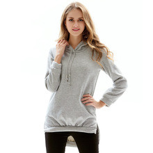 Minimalist Style Simple Hoodies Women Long Sleeve Hooded Pockets Cotton Ladies Sweatshirts Pullover Casual Streetwear
