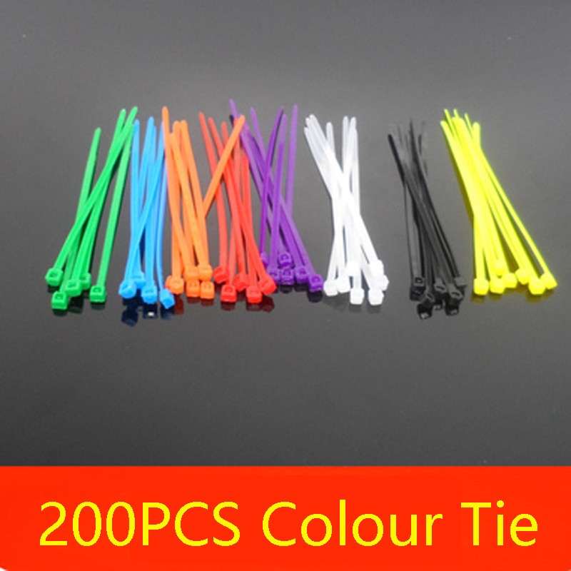 200PCS Colour Self-Locking Nylon Tie Strap 3MM*100MM Plastic lock DIY Spare Parts Tool for RC Car/Boat/Airplane/Robot Models