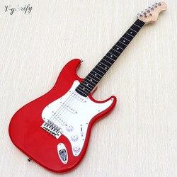 Stock ST guitare électrique 39 pouces couleur rouge haute brillance 6 cordes plein peuplier bois corps electrique guitare avec pickguard blanc