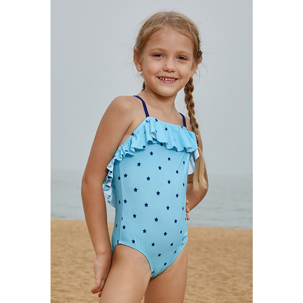 Europe And America GIRL'S Swimwear Star Printed Conservative Belly Covering Girls Seaside One-piece Swimming Suit