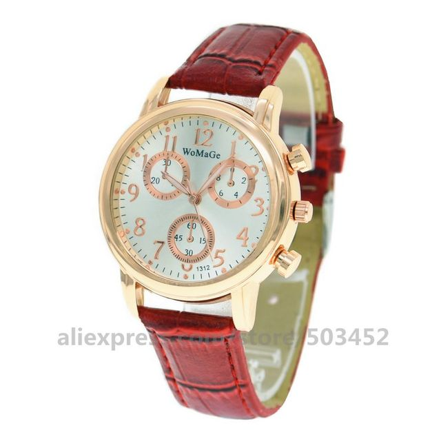 100pcs/lot Womage 1312 Rose Gold Case Women Watch Grace Wristwatch PU Belt Fashion Cute Watches Gifts Three Eye Clock For Women | Fotoflaco.net