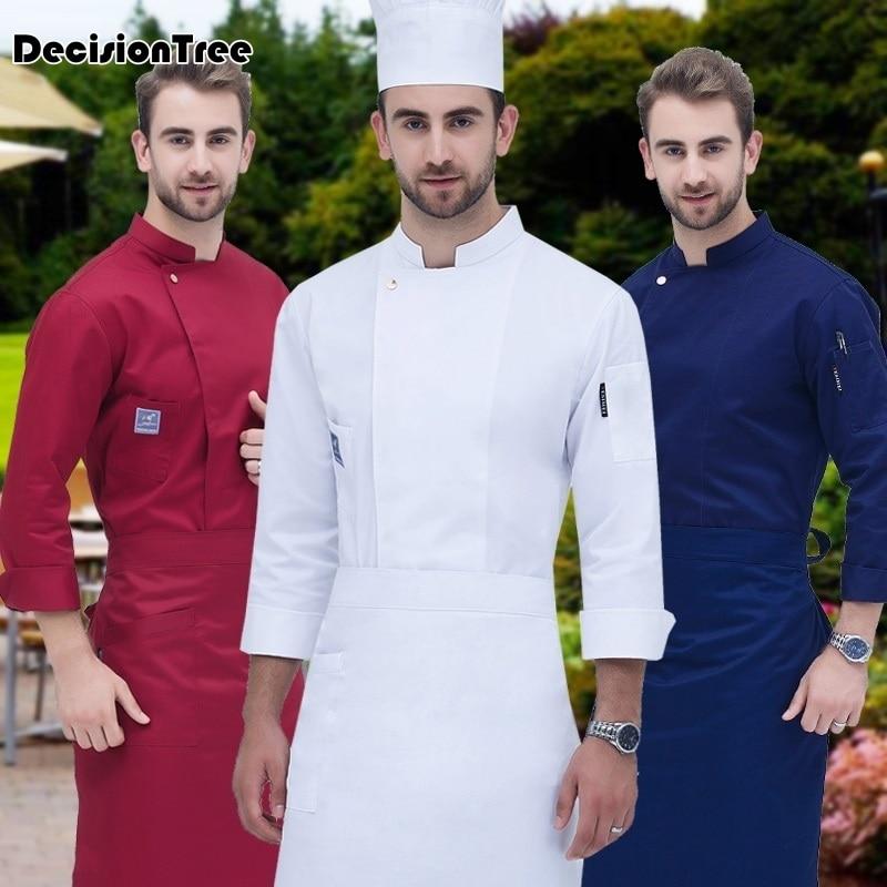 2019 Food Service Long Sleeve Professional Head Uniform Restaurant Hotel Kitchen Grey Uniform Coat