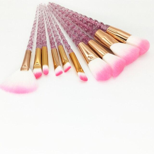 10pcs Unicorn Makeup Brushes Set Diamond Crystal Handle Blending Foundation Powder Eyeshadow Eyebrow Brush Beauty Make Up Tools 5