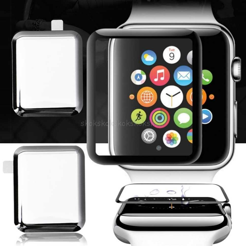 9H 3D Curved Full Coverage Tempered /Soft TPU Glass Screen Protective Film For Apple Watch iWatch Series 1/2/3/4 38/40/42mm Au09
