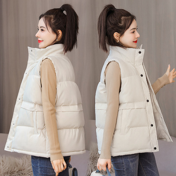 2021 Women Padded Vest Autumn Winter Solid Stand Collar sleeveless buttons Thick Warm padded Vest Coat Casual Female Waistcoat 1