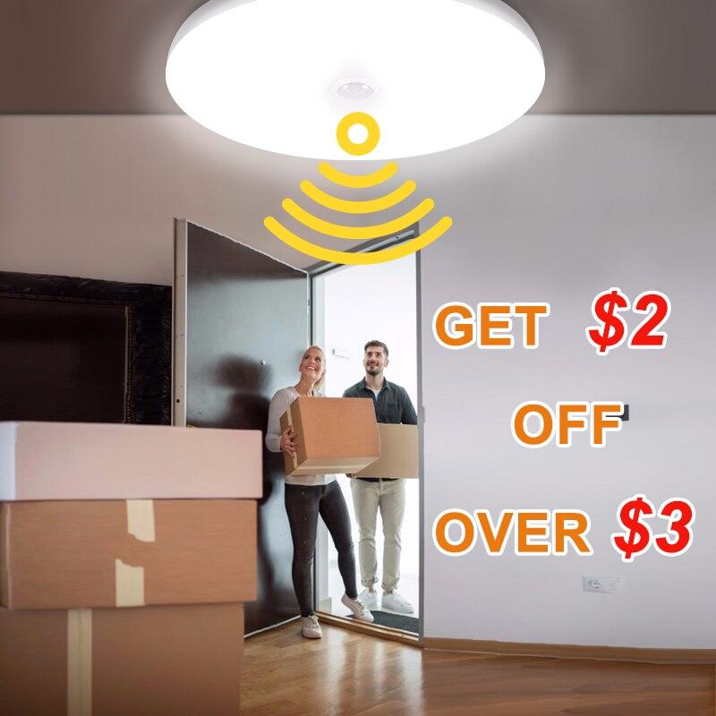 Modern PIR Motion Sensor LED Ceiling Lamps 12W 18W Ceiling Lights For Stairs E27 LED Lamps 5W 7W 9W LED Bulb Sensor For Corridor